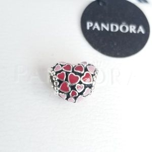 Pandora Red & Pink Hearts Charm Silver 925 Ale